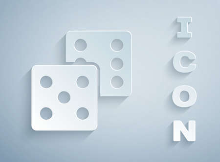 Paper cut Game dice icon isolated on grey background. Casino gambling. Paper art style. Vector.