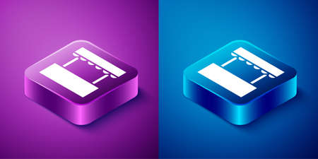 Isometric Ticket box office icon isolated on blue and purple background. Ticket booth for the sale of tickets for attractions and sports. Square button. Vector.