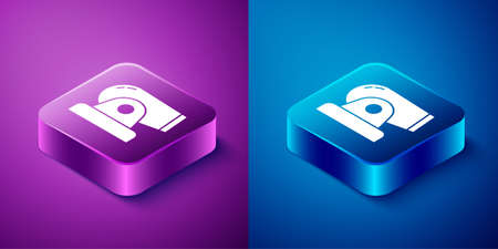 Isometric Cannon icon isolated on blue and purple background. Square button. Vector.