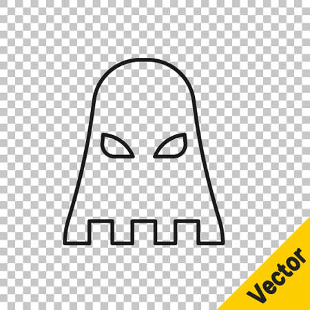 Black line Executioner mask icon isolated on transparent background. Hangman, torturer, executor, tormentor, butcher, headsman icon. Vector.