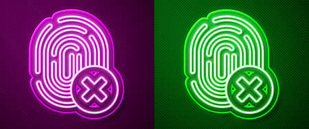 Glowing neon line Cancelled fingerprint icon isolated on purple and green background. Access denied for user concept. Error, fraud. Identification sign. Touch id. Vector.