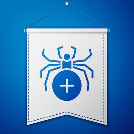 Blue Spider icon isolated on blue background. Happy Halloween party. White pennant template. Vector.