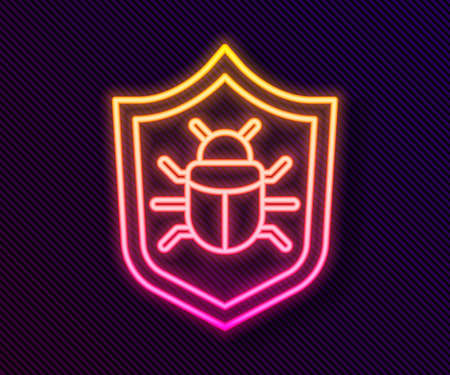 Glowing neon line System bug concept icon isolated on black background. Code bug concept. Bug in the system. Bug searching. Vector.