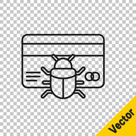 Black line System bug in credit card icon isolated on transparent background. Code bug concept. Bug in the system. Bug searching. Vector.