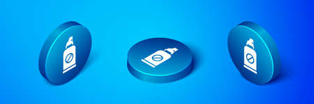 Isometric Spray against insects icon isolated on blue background. Blue circle button. Vector. Vettoriali