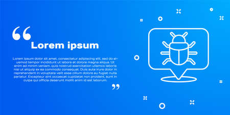 White line System bug concept icon isolated on blue background. Code bug concept. Bug in the system. Bug searching. Vector.