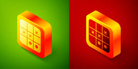 Isometric Tic tac toe game icon isolated on green and red background. Square button. Vector.