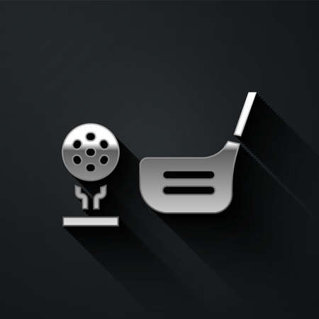Silver Golf flag and golf ball on tee icon isolated on black background. Golf equipment or accessory. Long shadow style. Vector