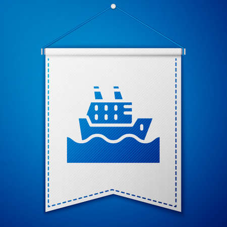 Blue Cruise ship in ocean icon isolated on blue background. Cruising the world. White pennant template. Vector