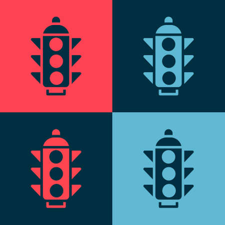 Pop art Traffic light icon isolated on color background. Vector