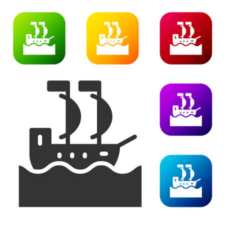 Black Sailboat or sailing ship icon isolated on white background. Sail boat marine cruise travel. Set icons in color square buttons. Vector