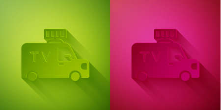 Paper cut TV News car with equipment on the roof icon isolated on green and pink background. Paper art style. Vector