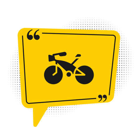 Black Bicycle icon isolated on white background. Bike race. Extreme sport. Sport equipment. Yellow speech bubble symbol. Vector.