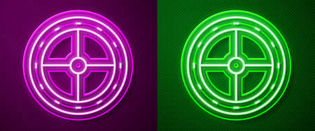 Glowing neon line Round wooden shield icon isolated on purple and green background. Security, safety, protection, privacy, guard concept. Vector