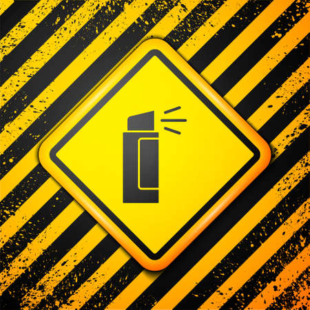 Black Pepper spray icon isolated on yellow background. OC gas. Capsicum self defense aerosol. Warning sign. Vector.