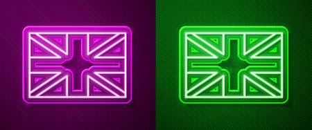Glowing neon line Flag of Great Britain icon isolated on purple and green background. UK flag sign. Official United Kingdom flag. British symbol. Vector 矢量图像