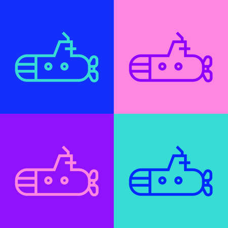 Pop art line Submarine icon isolated on color background. Military ship. Vector