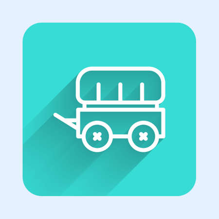 White line Wild west covered wagon icon isolated with long shadow. Green square button. Vector