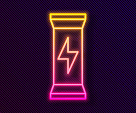 Glowing neon line Sports nutrition bodybuilding proteine power drink and food icon isolated on black background. Vector