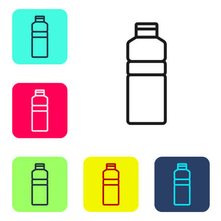 Black line Fitness shaker icon isolated on white background. Sports shaker bottle with lid for water and protein cocktails. Set icons in color square buttons. Vector