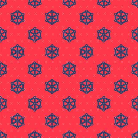 Blue line Blockchain technology icon isolated seamless pattern on red background. Cryptocurrency data. Abstract geometric block chain network technology business. Vector.