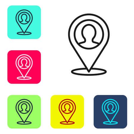 Black line Map marker with a silhouette of a person icon isolated on white background. GPS location symbol. Set icons in color square buttons. Vector. Illustration