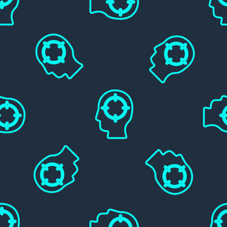 Green line Head hunting icon isolated seamless pattern on blue background. Business target or Employment sign. Human resource and recruitment for business. Vector. 向量圖像