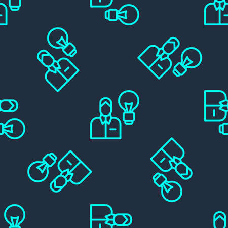 Green line Human with lamp bulb icon isolated seamless pattern on blue background. Concept of idea. Vector.