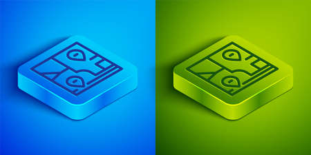 Isometric line Folded map with location marker icon isolated on blue and green background. Square button. Vector.