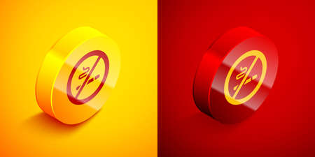 Isometric No Smoking icon isolated on orange and red background. Cigarette symbol. Circle button. Vector.