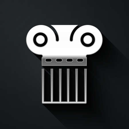 Silver Ancient column icon isolated on black background. Long shadow style. Vector