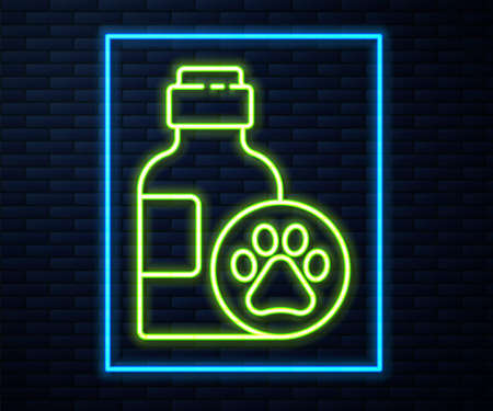 Glowing neon line Pet shampoo icon isolated on brick wall background. Pets care sign. Dog cleaning symbol. Vector.