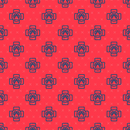 Blue line Veterinary clinic symbol icon isolated seamless pattern on red background. Cross hospital sign. A stylized paw print dog or cat. Pet First Aid sign. Vector. 向量圖像