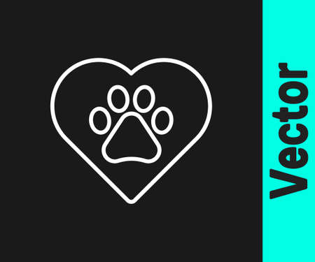 White line Heart with animals footprint icon isolated on black background. Pet paw in heart. Love to the animals. Vector. 일러스트
