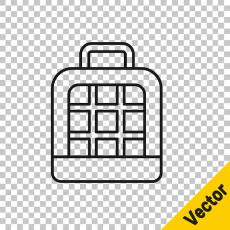 Black line Pet carry case icon isolated on transparent background. Carrier for animals, dog and cat. Container for animals. Animal transport box. Vector.