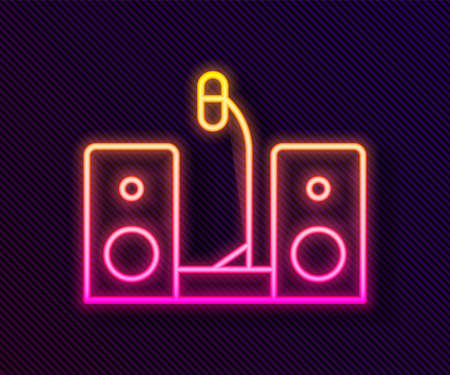 Glowing neon line Home stereo with two speaker s icon isolated on black background. Music system. Vector. 向量圖像