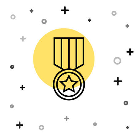 Black line Medal with star icon isolated on white background. Winner achievement sign. Award medal. Random dynamic shapes. Vector. 일러스트