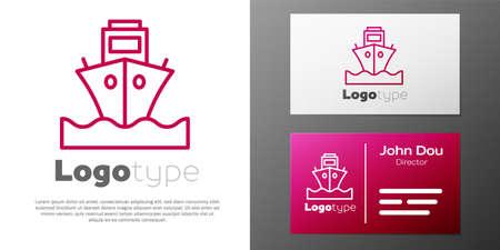 Logotype line Cargo ship icon isolated on white background.