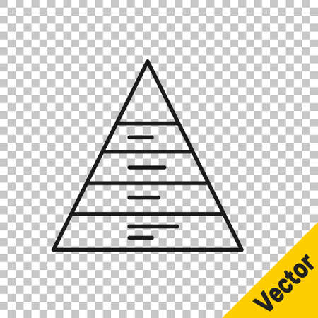 Black line Business pyramid chart infographics icon isolated on transparent background. Pyramidal stages graph elements. Vector Ilustrace