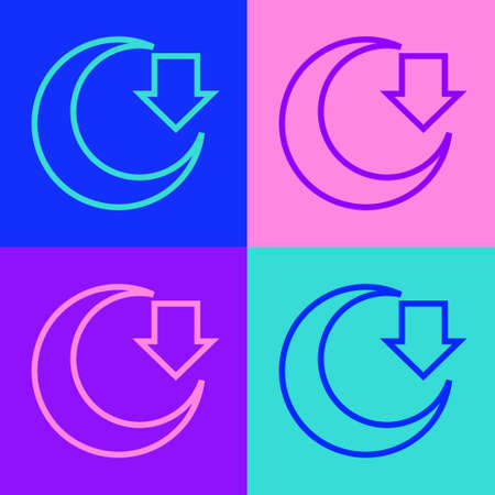 Pop art line Moon icon isolated on color background. Vector
