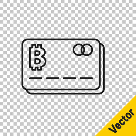 Black line Credit card with bitcoin icon isolated on transparent background. Online payment. Cash withdrawal. Modern method of payment. Vector