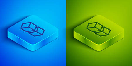 Isometric line Blockchain technology icon isolated on blue and green background. Cryptocurrency data. Abstract geometric block chain network technology business. Square button. Vector