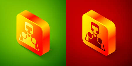 Isometric Medieval knight icon isolated on green and red background. Square button. Vector 矢量图像