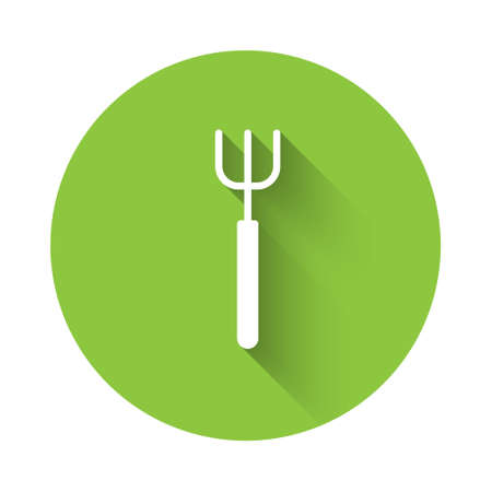White Garden pitchfork icon isolated with long shadow. Garden fork sign. Tool for horticulture, agriculture, farming. Green circle button. Vector