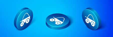 Isometric Wooden four-wheel cart with hay icon isolated on blue background. Blue circle button. Vector
