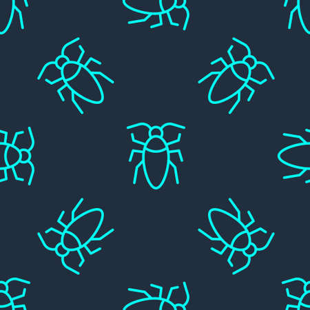 Green line Cockroach icon isolated seamless pattern on blue background. Vector