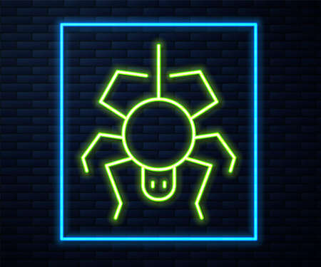 Glowing neon line Spider icon isolated on brick wall background. Happy Halloween party. Vector Ilustração