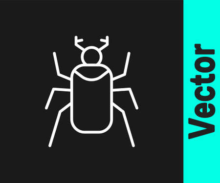 White line Beetle bug icon isolated on black background. Vector
