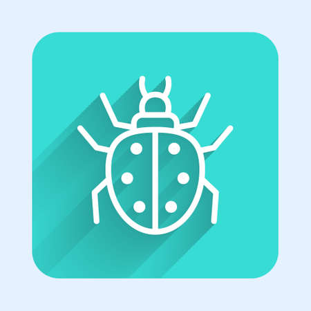 White line Mite icon isolated with long shadow. Green square button. Vector