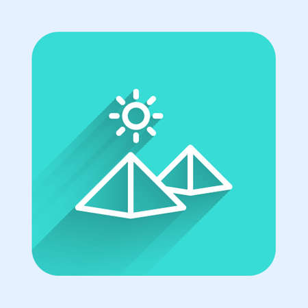 White line Egypt pyramids icon isolated with long shadow. Symbol of ancient Egypt. Green square button. Vector